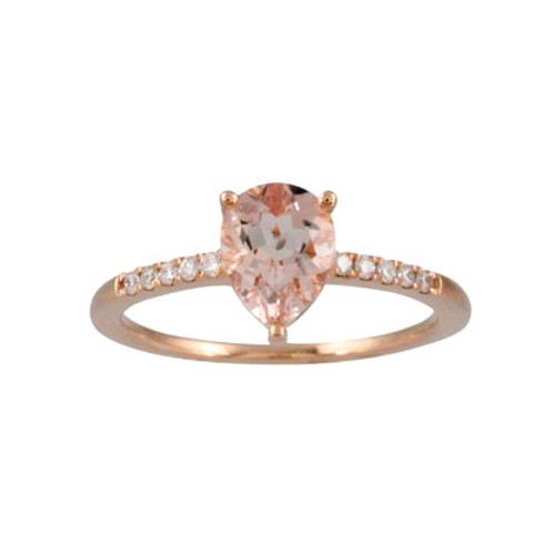18K Rose Gold Morganite Solitaire Engagement Ring - Little Bird Collection