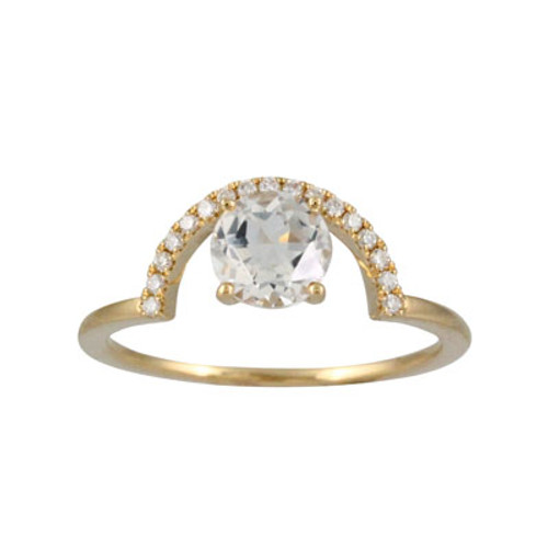 18k Yellow Gold White Topaz Ring - Little Bird Collection