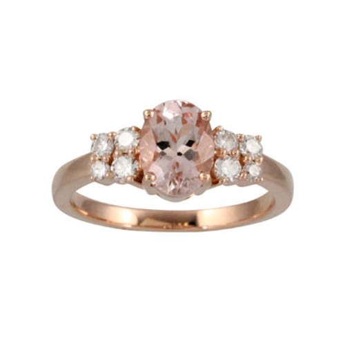 18K Rose Gold Morganite Ring With Diamonds - Little Bird Collection