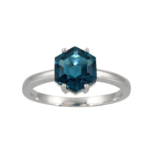 18K White Gold Blue Topaz Solitaire Ring - Little Bird Collection
