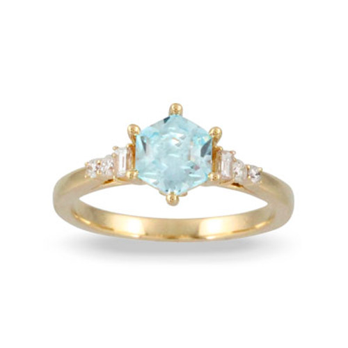 18k Yellow Gold Blue Topaz Engagement ring - Little Bird Collection
