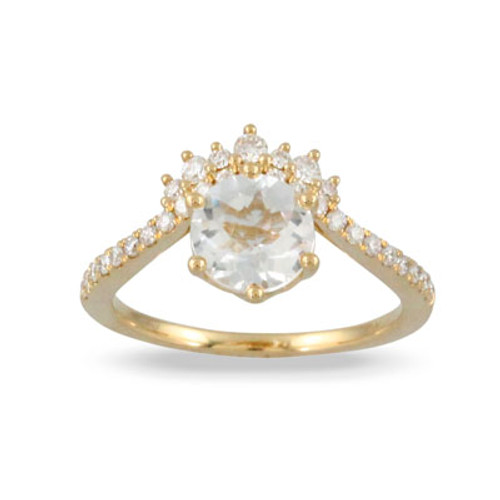 18k Yellow Gold  Half Halo Ring - Little Bird Collection