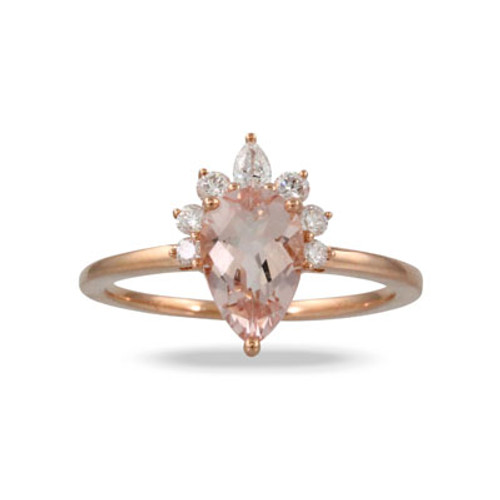 18K Rose Gold MG Pear Shaped Engagement ring - Little Bird Collection