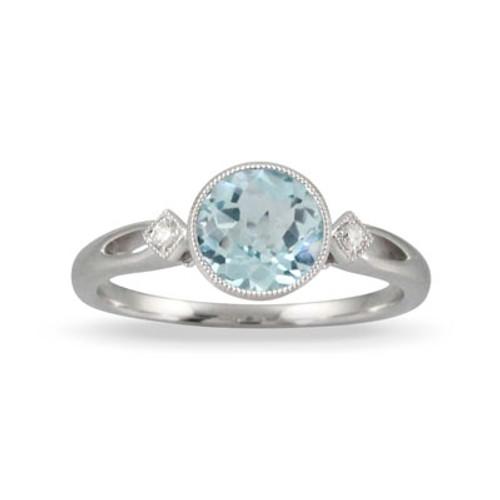 18K White Gold Blue Topaz Bezel Ring - Little Bird Collection