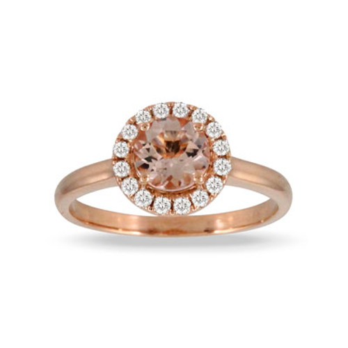18K Rose Gold Morganite Halo Ring - Little Bird Collection