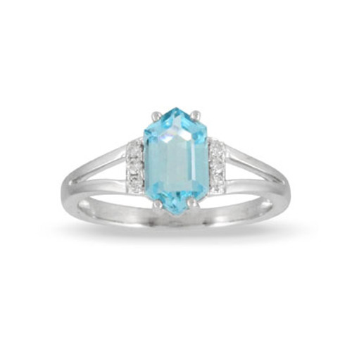 18K White Gold Blue Topaz Ring With Diamonds - Little Bird Collection