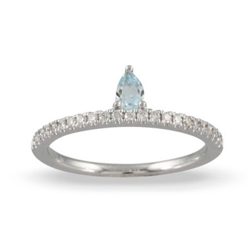 18K White Gold  Blue Topaz Pear Shaped Ring - Little Bird Collection