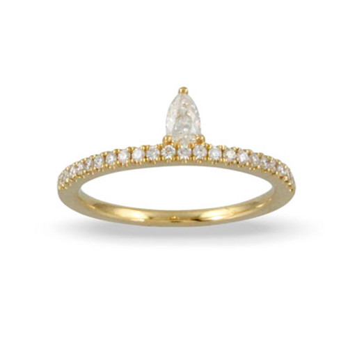 18K White Gold Diamond Pear Shaped Ring - Little Bird Collection