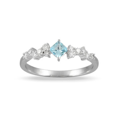 18K White Gold BT Ring With Diamonds - Little Bird Collection