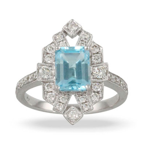 18K White Gold Halo Blue Topaz Engagement ring - Little Bird Collection