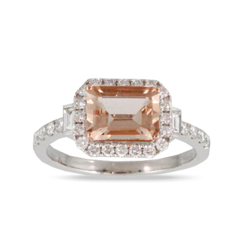 18K White Gold Morganite Engagement Ring - Little Bird Collection