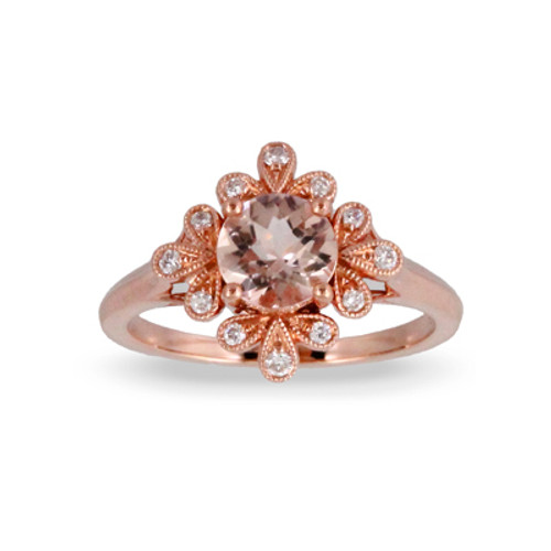 18K Rose Gold Morganite Center Stone Engagement ring - Little Bird Collection