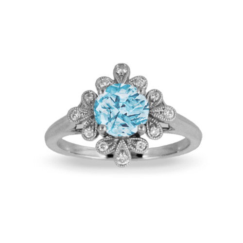 18K White Gold Blue Topaz Engagement Ring With Diamonds - Little Bird Collection