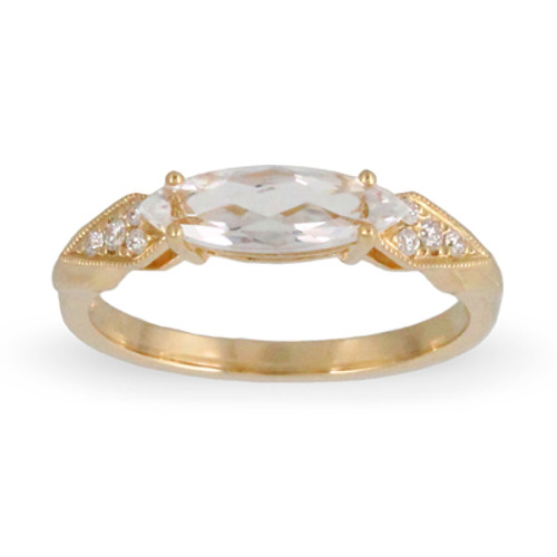 18k Yellow Gold Withe Topaz Engagement ring - Little Bird Collection