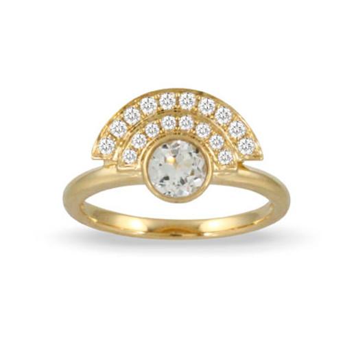 18k Yellow Gold White Topaz Center Stone Ring - Little Bird Collection
