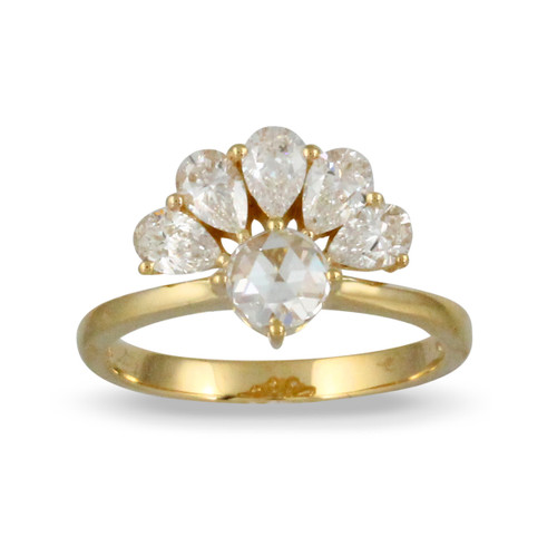 18k Yellow Gold Diamond Center Stone Ring - Little Bird Collection