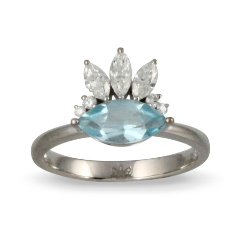 18K White Gold Blue Topaz Marquis Shaped Engagement ring - Little Bird Collection