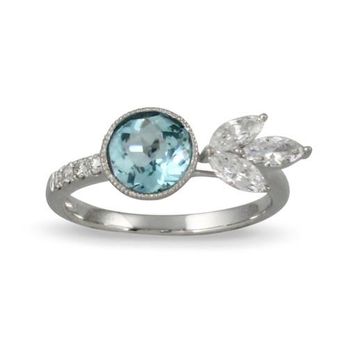 18K White Gold Bezel BT Engagement ring - Little Bird Collection
