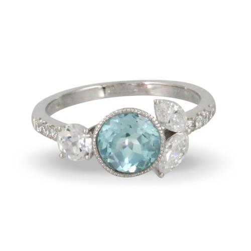 18k White Gold Blue Topaz Bezel Engagement Ring - Little Bird Collection