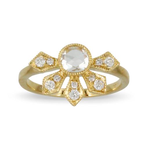 18k Yellow Gold Diamond  Engagement Ring - Little Bird Collection
