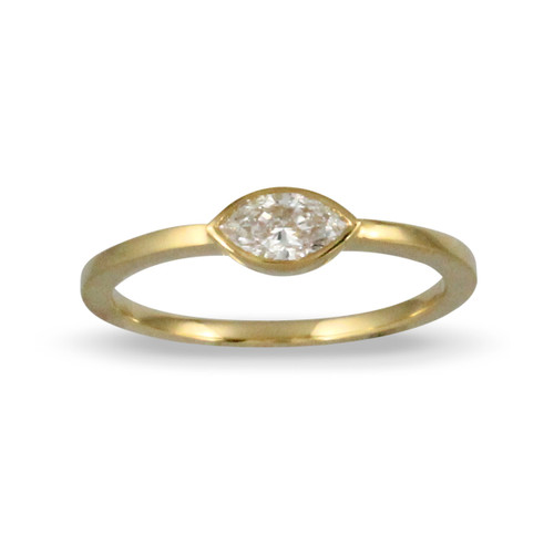 18k Yellow Gold  Marquise Diamond  Engagement Ring - Little Bird Collection