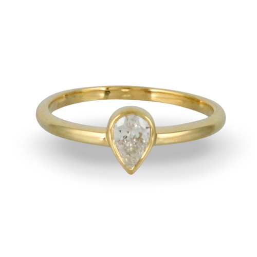 18k Yellow Gold  Pear Diamond Engagement Ring - Little Bird Collection