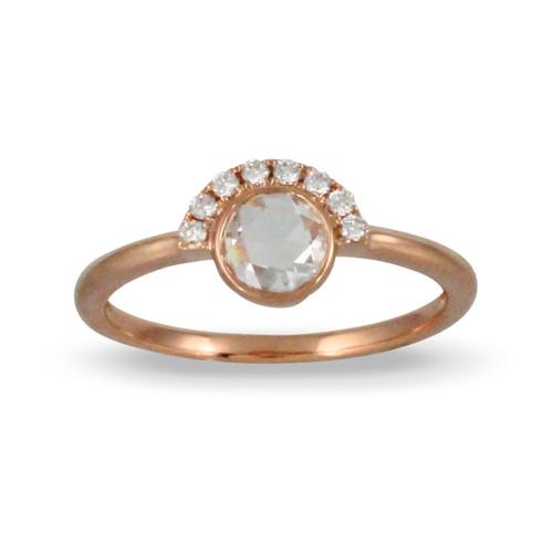18K Rose Gold Round Diamond Engagement ring - Little Bird Collection