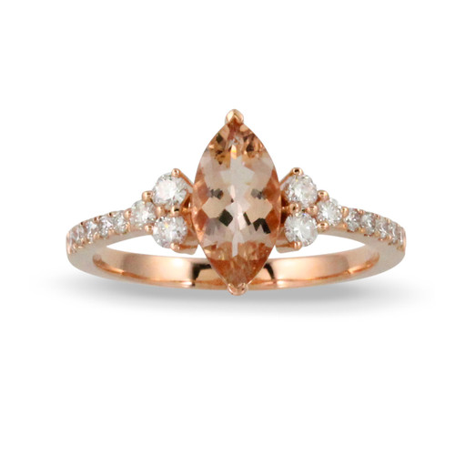 18K Rose Gold  Marquise Morganite Engagement ring - Little Bird Collection