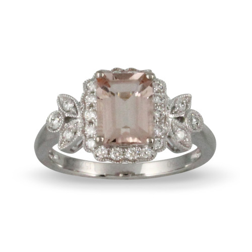 18K White Gold Halo Morganite Engagement ring - Little Bird Collection