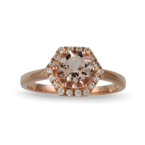 18K Rose Gold Halo Morganite  Engagement ring - Little Bird Collection