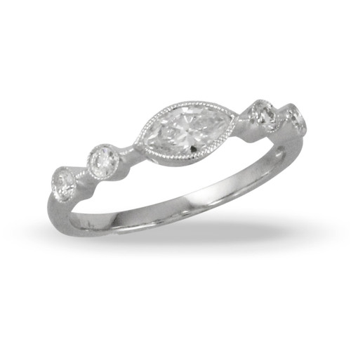 18K White Gold Marquise Diamond Engagement ring - Little Bird Collection