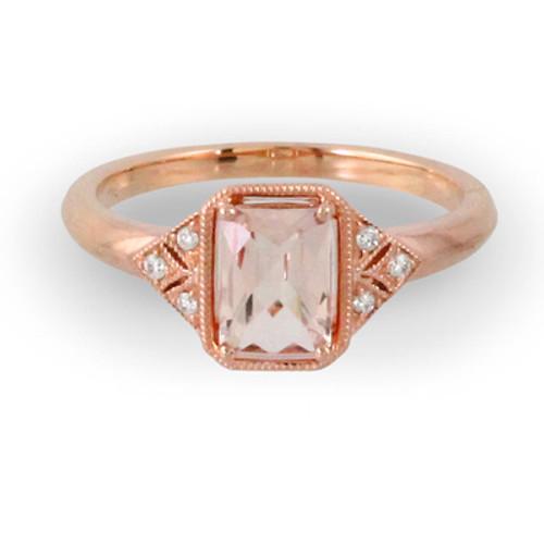 18K Rose Gold Emerald Morganite Engagement ring - Little Bird Collection