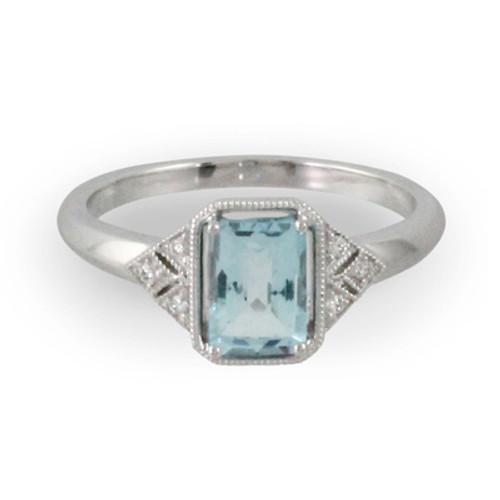 18K White Gold Emerald Blue Topaz Engagement ring - Little Bird Collection