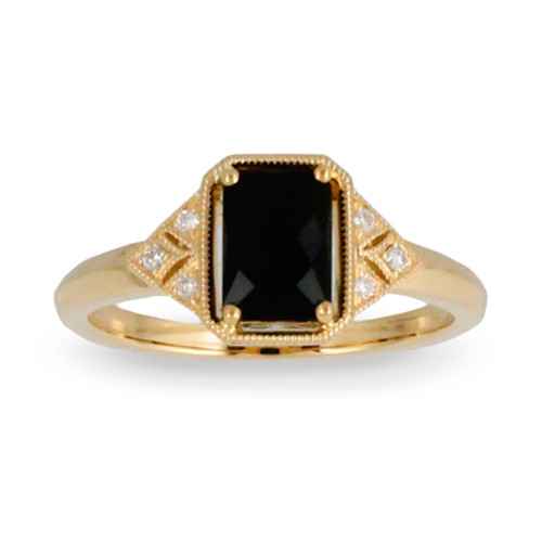 18k Yellow Gold Emerald Onyx Engagement ring - Little Bird Collection