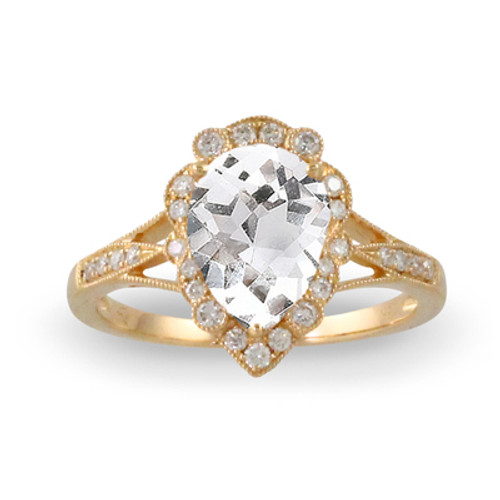 18k Yellow Gold WT Halo Engagement ring - Little Bird Collection