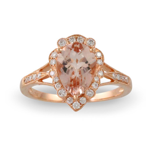 18K Rose Gold Halo Engagement Ring With Morganite Stone - Little Bird Collection