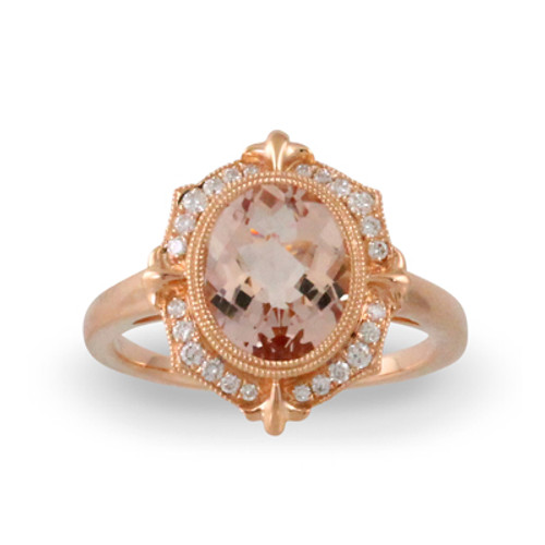 18K Rose Gold Morganite Stone Halo Engagement ring - Little Bird Collection