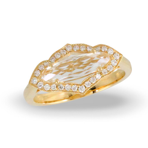18k Yellow Gold Marquise White Topaz Engagement ring - Little Bird Collection