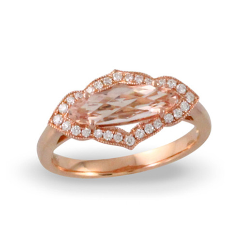 18K Rose Gold  Marquise Morganite Halo Engagement ring - Little Bird Collection