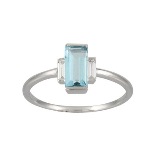 18K White Gold Three Stone Blue Topaz Engagement ring - Little Bird Collection