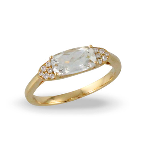 18k Yellow Gold Engagement Ring  White Topaz Stone - Little Bird Collection