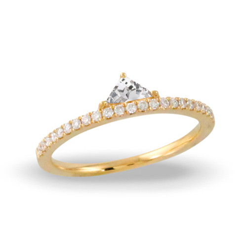 18k Yellow Gold White Topaz Stone Engagement ring - Little Bird Collection