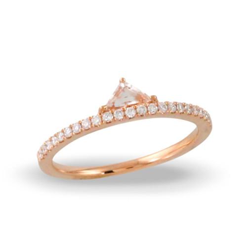 Morganite center stone, melee diamonds, Engagement ring, gemstone, pave diamond