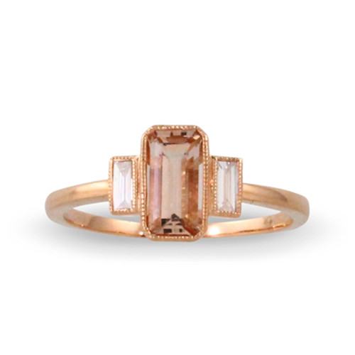 18K Rose Gold Three stone Morganite Engagement ring - Little Bird Collection