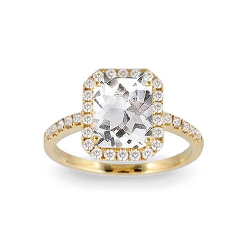 18k Yellow Gold Halo White Topaz Engagement ring - Little Bird Collection