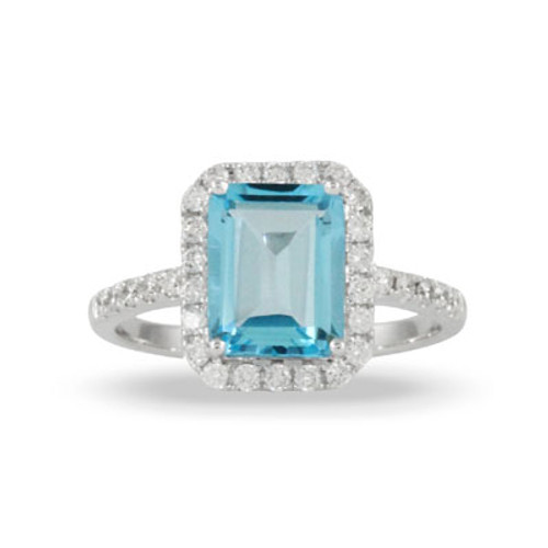18K White Gold Halo Blue Topaz Stone Engagement ring - Little Bird Collection