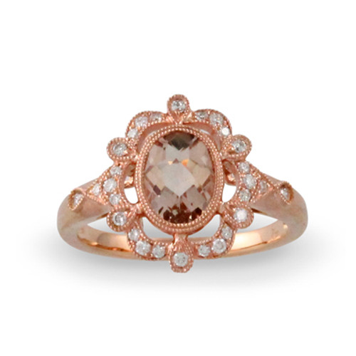 18K Rose Gold Engagement ring With Morganite Stone - Little Bird Collection
