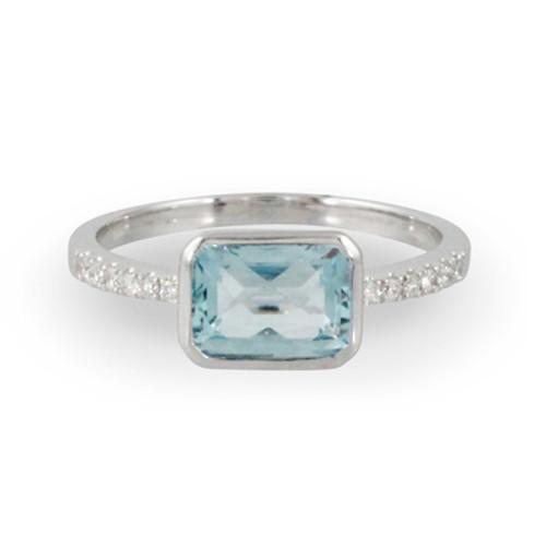 18K White Gold Bezel Blue topaz Engagement ring - Little Bird Collection