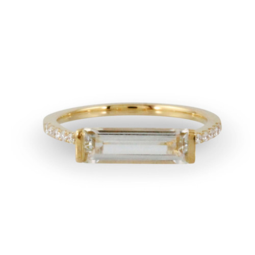 18k Yellow Gold Solitaire White Topaz Engagement ring - Little Bird Collection