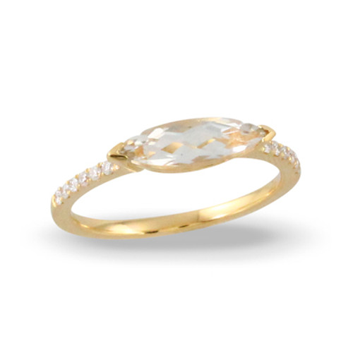 18k Yellow Gold White Topaz Engagement Ring Solitaire Style - Little Bird Collection